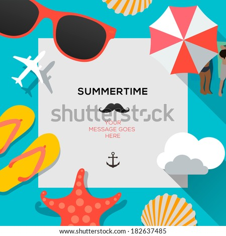 Summertime traveling template with beach summer accessories, vector illustration.  - stock vector