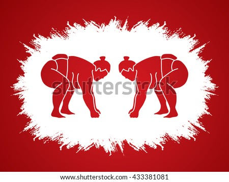 Sumo prepare to fight designed on grunge frame background graphic vector. - stock vector