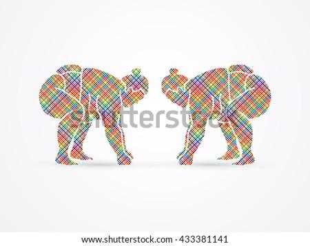 Sumo prepare to fight designed using colorful pixels graphic vector. - stock vector