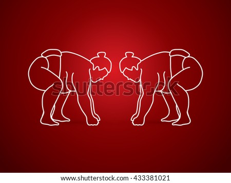 Sumo prepare to fight outline graphic vector. - stock vector