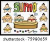 Sumo wrestlers illustration - stock vector