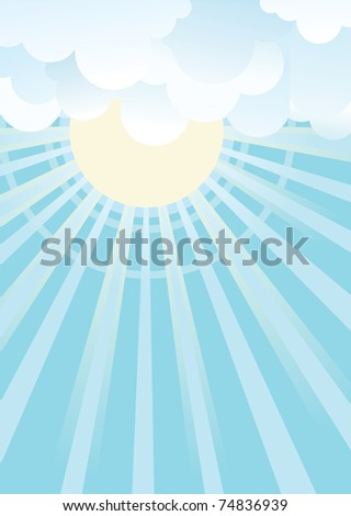 Sun and blue sky with beautiful clouds.Vector image