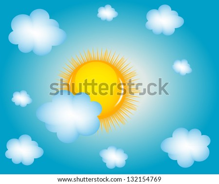 Sun and cloud background vector illustration