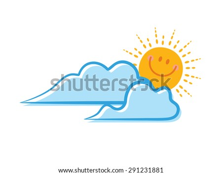 sun and cloud cartoon - stock vector