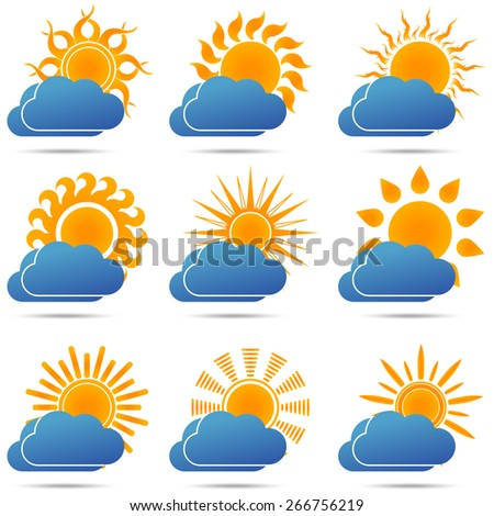 Sun and cloud icons set, sunset, cloudy, sunrise, weather sign - vector illustration - stock vector