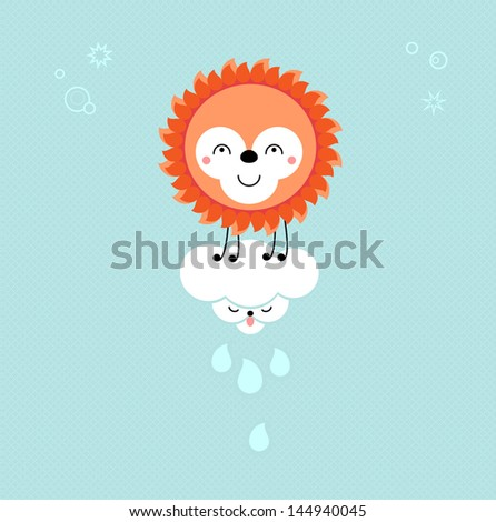 Sun and Cloud in the sky. Cute kawaii animalistic cartoon characters. EPS 10 vector - stock vector