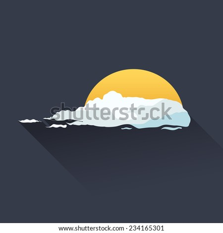 Sun and cloud weather icon. Flat infographics design - stock vector