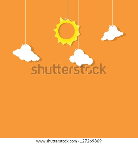 sun and clouds hanging on threads - stock vector