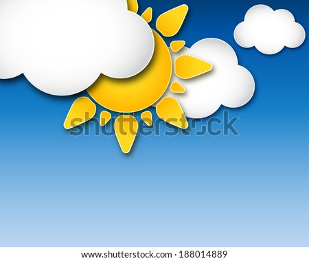 Sun and clouds illustration with space for your text - stock vector
