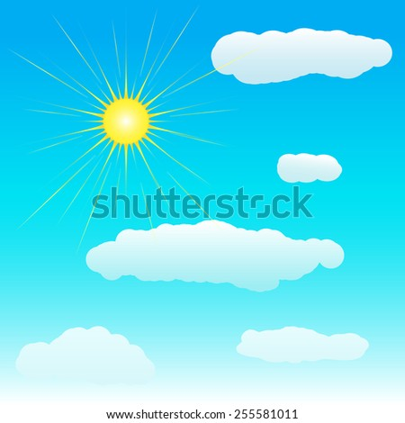 Sun and clouds on blue sky. Vector illustration