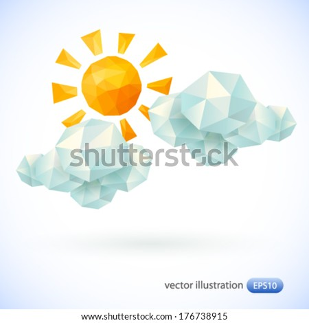 Sun and clouds. Vector illustration. - stock vector