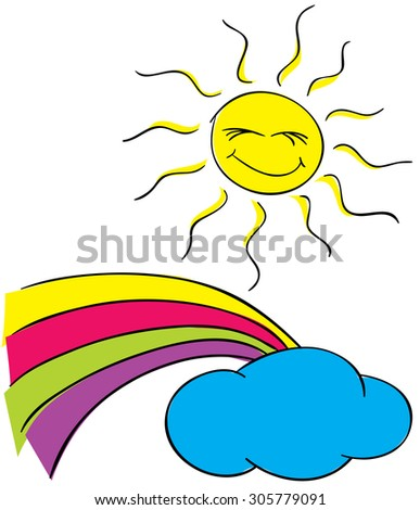 Sun and clouds with a rainbow on a white background. - stock vector