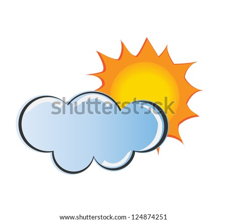 Sun and clound, weather icon vector - stock vector