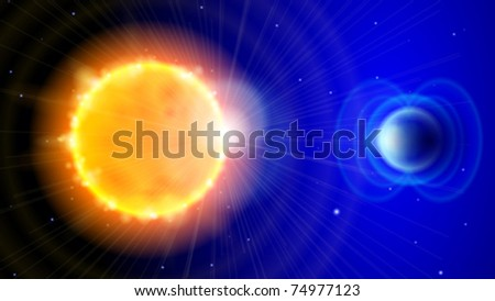 Sun and Earth in the depths of space. Scheme of solar radiation and electromagnetic field of the Earth. Eps10 - stock vector