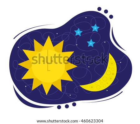 sun moon sun moon stars clipart stock vector 460623304 shutterstock rh shutterstock com moon and stars clipart black and white moon and stars clipart images