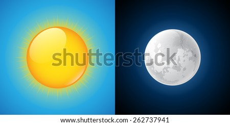 Sun and Moon. Vector illustration - stock vector