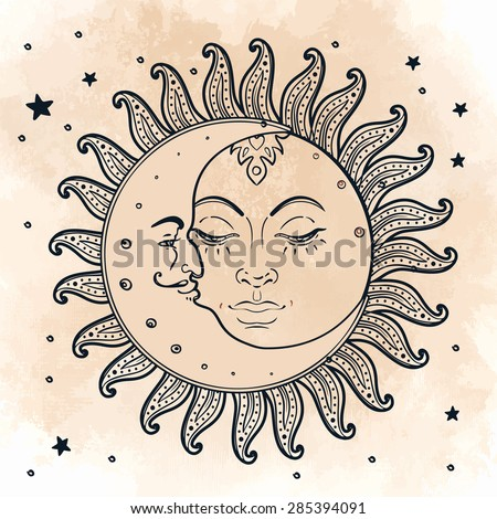 Sun and moon. Vector illustration in vintage engraving style. - stock vector