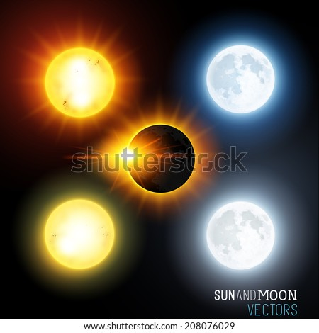 Sun and moon Vector Set. Various vector suns and moons including an eclipse. Vector illustration - stock vector