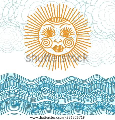 Sun and sea nature pattern background vector illustration - stock vector