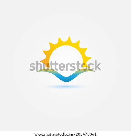 Sun and sea wave vector minimal icon - bright sunset symbol - stock vector