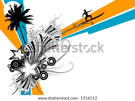 Sun and surf - stock vector