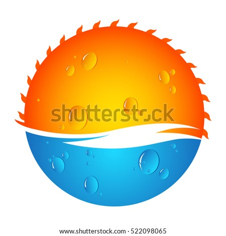 Sun and water vector design