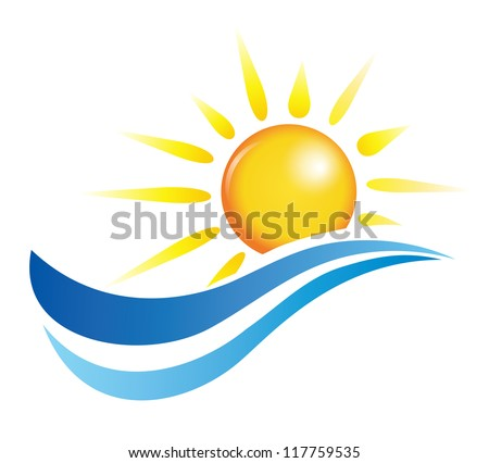 sun and water waves, vector design elements - stock vector