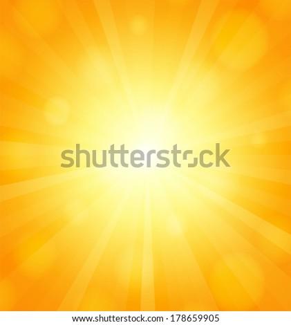 Sun background with sun-rays. Vector illustration - stock vector