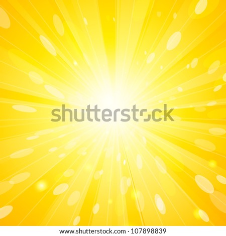 Sun background with yellow burst - stock vector