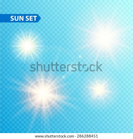 Sun burst collection. Vector illustration eps 10 - stock vector