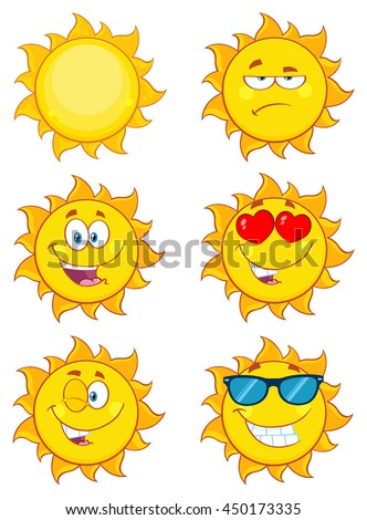 Sun Cartoon Mascot Characters. Set Vector Collection Isolated On White - stock vector