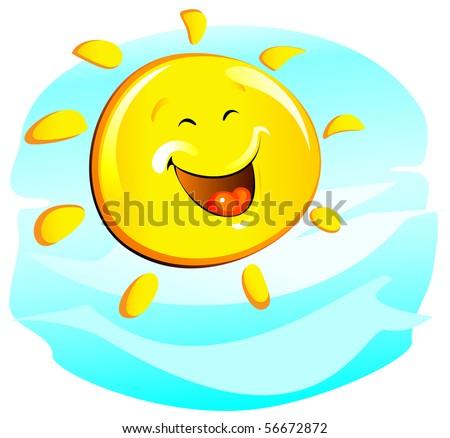 sun (cheerful) - stock vector