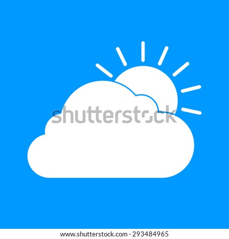 sun cloud icon. Flat design style eps 10
