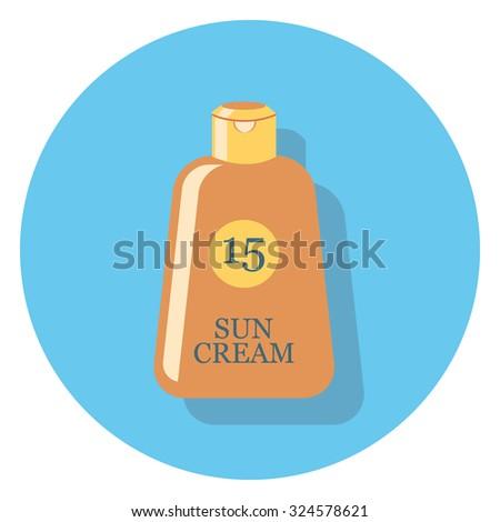 sun cream flat icon in circle - stock vector
