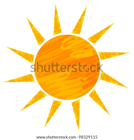 Sun drawing. Vector illustration - stock vector