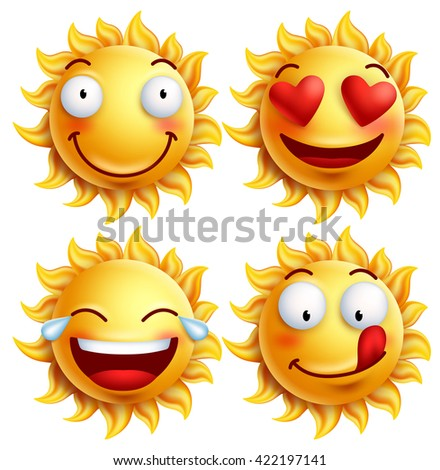 Sun face with funny facial expressions for summer. Set of glossy 3D realistic vector illustration isolated in white background  - stock vector