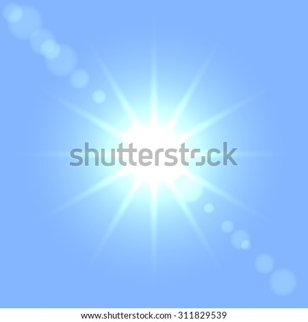 Sun flare vector template. - stock vector