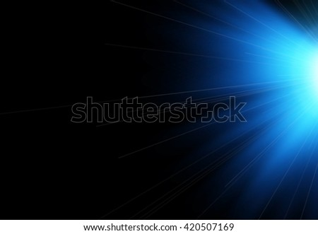 Sun flash with rays and spotlight. Light effect, sun rays, beams on black background. Vector illustration.