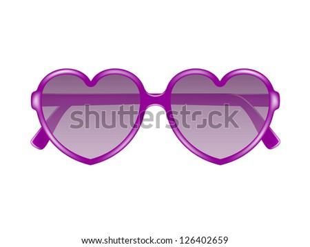 Sun glasses in shape of heart - stock vector