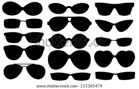 sun glasses set isolated on white - stock vector