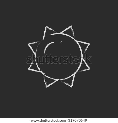 Sun hand drawn in chalk on a blackboard vector white icon isolated on a black background. - stock vector