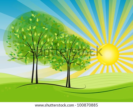 Sun happening in the countryside - stock vector