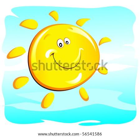 sun (happy) - stock vector