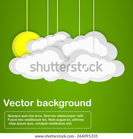 Sun hidden after four clouds on green background. Vector illustration. - stock vector