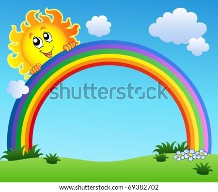 Sun holding rainbow on blue sky - vector illustration. - stock vector