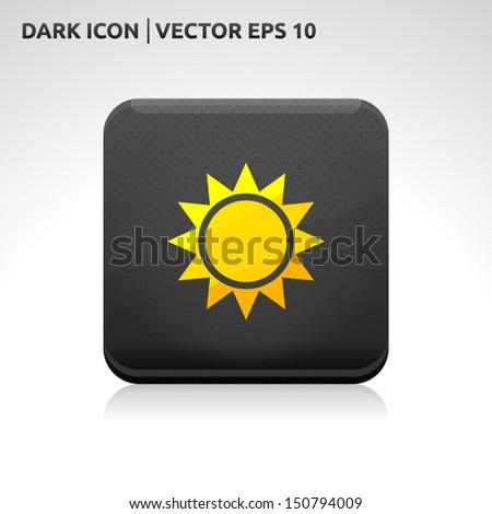 Sun icon | color dark black gold yellow | icon set | abstract vector symbol | template design | shadows shiny | business button | abstract 3d - stock vector