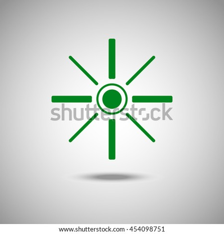 Sun icon. Flat style.Grey background. Vector illustration.
