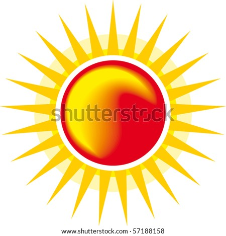 Sun icon isolated on white - stock vector