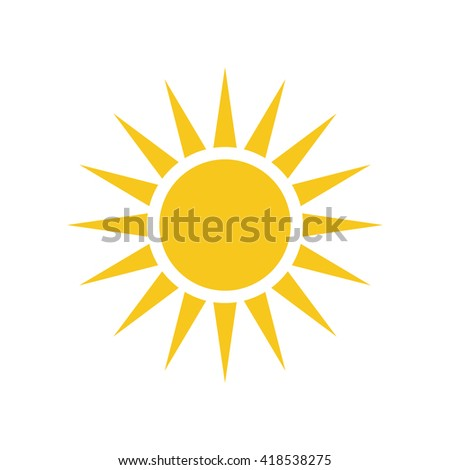 Sun icon. Light sign with sunbeams. Yellow design element, isolated on white background. Symbol of sunrise, heat, sunny and sunset, sunlight. Flat modern style for weather forecast Vector Illustration - stock vector