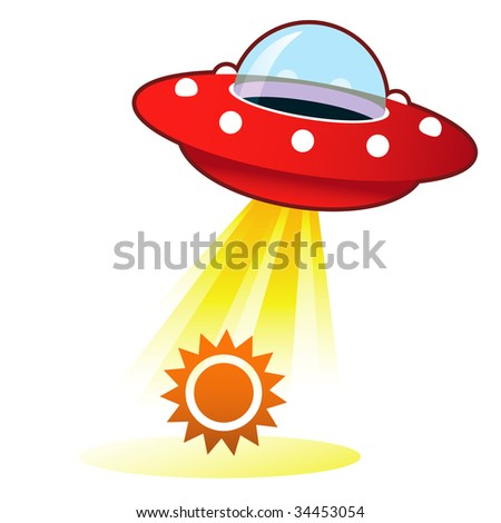 Sun icon on retro flying saucer UFO with light beam. - stock vector